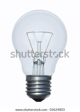 blue lamp bulb on white  background - stock photo