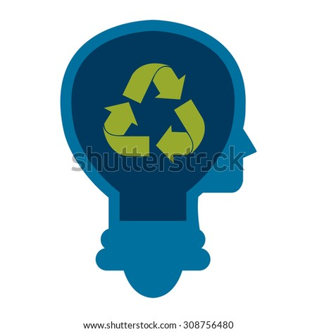 Blue Lamp Head With Recycle Arrow Infographics Flat Icon, Sign Isolated on White Background