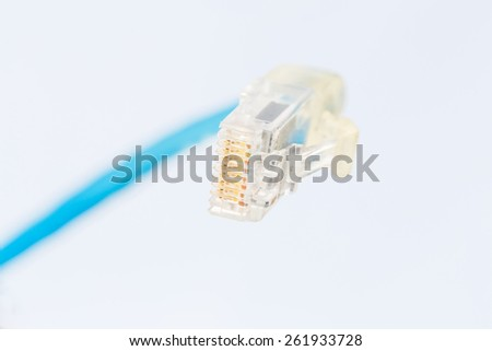 Blue Lan Cable selective Focus  - stock photo