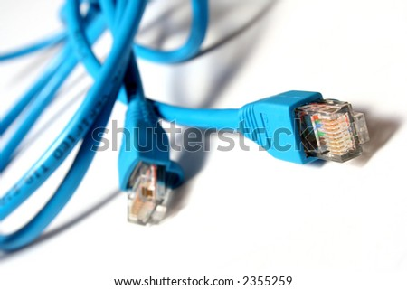 Blue lan Cables isolated on white