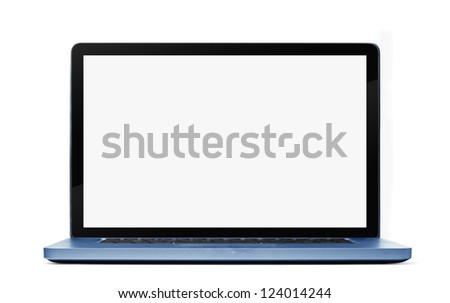 Blue Laptop isolated on white background. Clipping path included. - stock photo