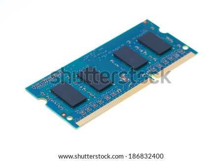 Blue laptop RAM isolated on white background. - stock photo