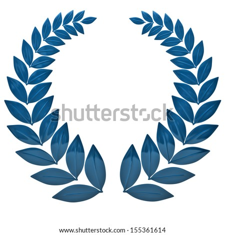 Blue laurel wreath isolated on white background