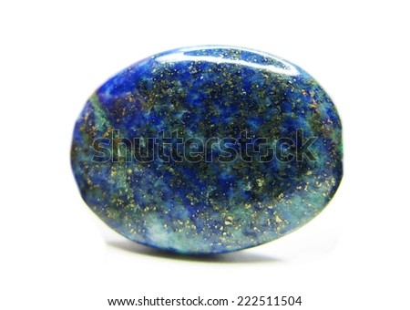 blue lazurite geological crystal isolated - stock photo
