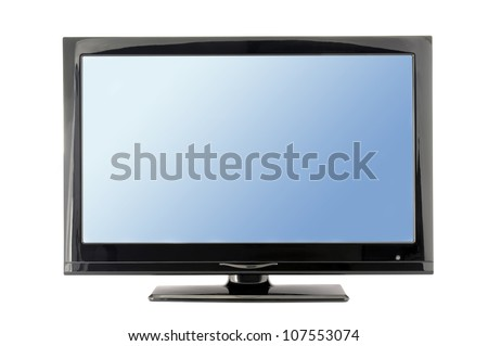 blue lcd tv monitor isolated on white background - stock photo