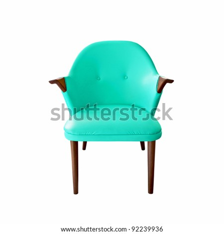 blue leather armchair on white background - stock photo