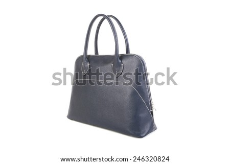 Blue Leather Bag isolated on white background