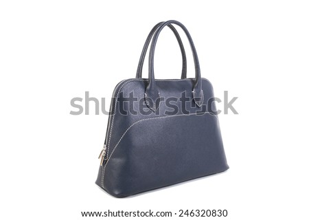 Blue Leather Bag isolated on white background - stock photo