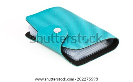blue leather business card holder leather - stock photo