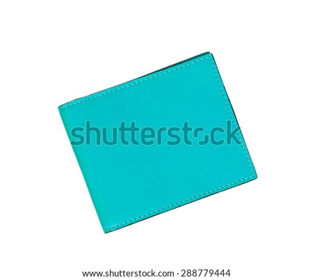 blue leather case note book isolated on white background - stock photo