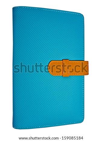 blue leather case notebook isolated on white background - stock photo