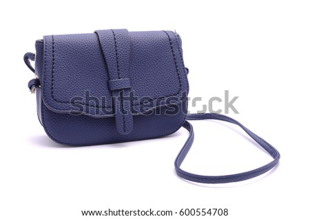 Blue leather clutch isolated on white