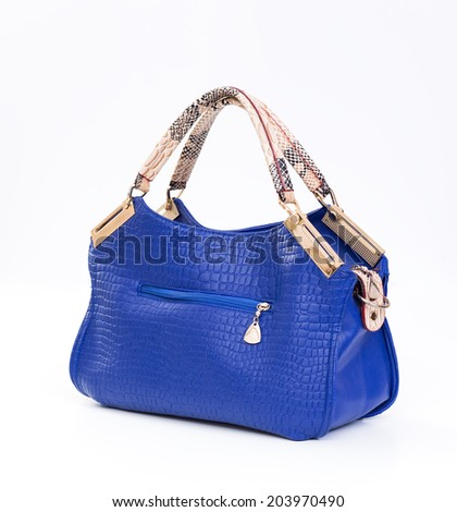 Blue leather female bag isolated on white