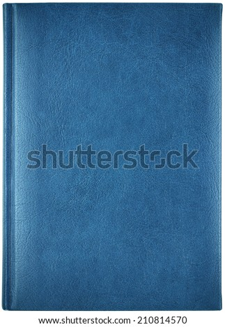 Blue leather notebook isolated on white background - stock photo