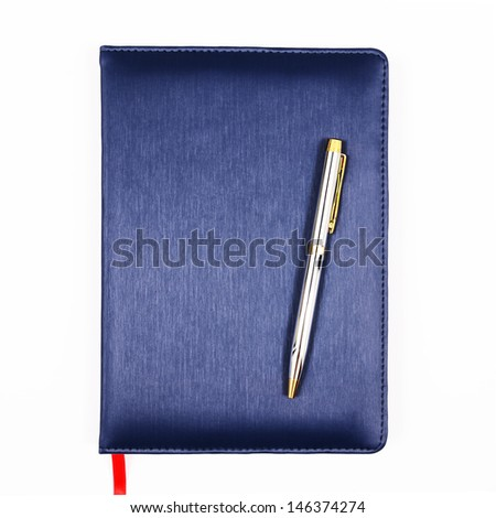 Blue leather notebook with pen isolated on white background - stock photo