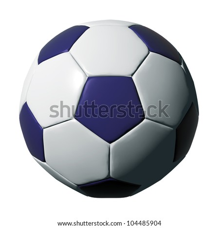 Blue leather soccer ball isolated on white background. - stock photo