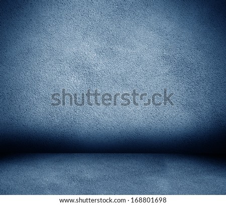 blue leather wall and floor interior background - stock photo