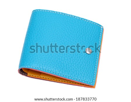 blue leather wallet on a white background - stock photo