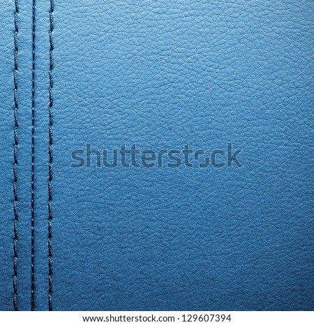 Blue leather with seam - stock photo
