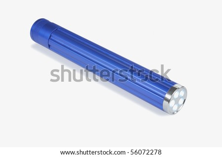 Blue LED hand torch against white background