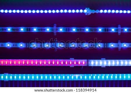 blue led light tapes - stock photo