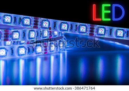 Blue LED Strip Lights, with rgb text - stock photo