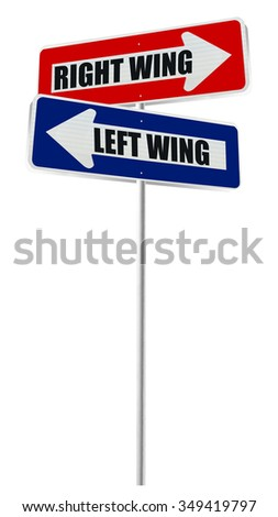 Blue Left Wing Red Right Wing One Way Directional Arrow Street sign isolated on white background