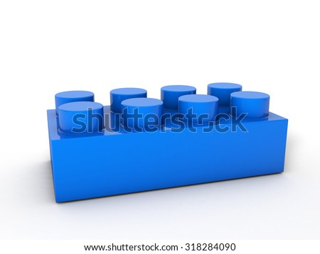 Blue lego block on a white background. - stock photo