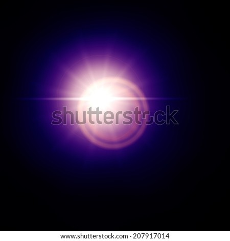 Blue lens flare effect, sun light flare isolated on black background. Can be added to photos by overlaying in screen mode. - stock photo