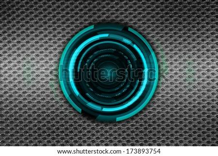 blue lens on steel mesh - stock photo