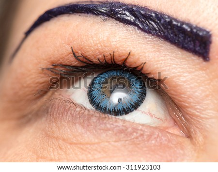 blue lenses in the eyes. close