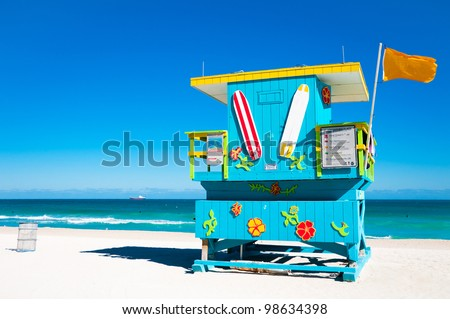 Blue Lifeguard Tower in South Beach, Miami Beach, Florida - stock photo