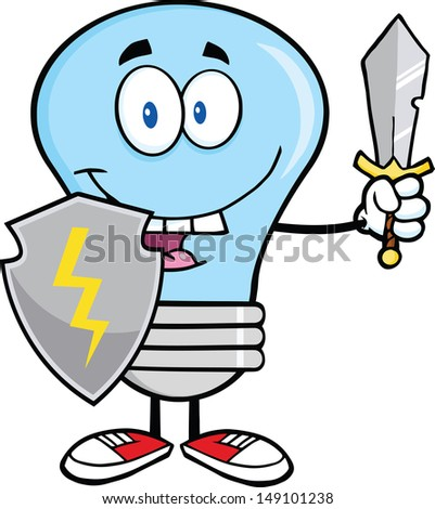 Blue Light Bulb Guarder With Shield And Sword.