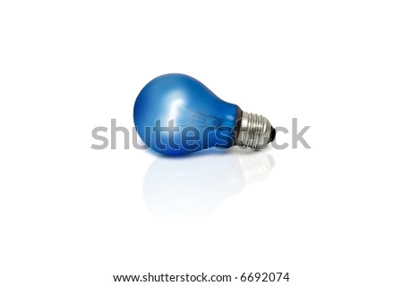 Blue light bulb. Isolated light bulb - stock photo