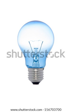 blue light bulb isolated on white