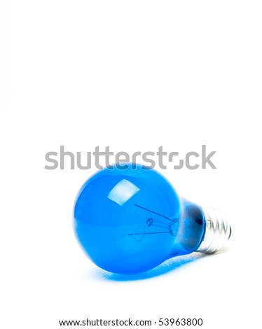 Blue Light Bulb Isolated on White - stock photo