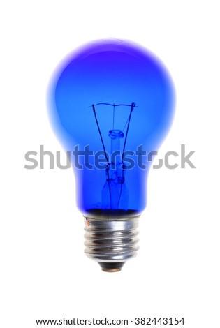 blue light bulb isolated on white background - stock photo