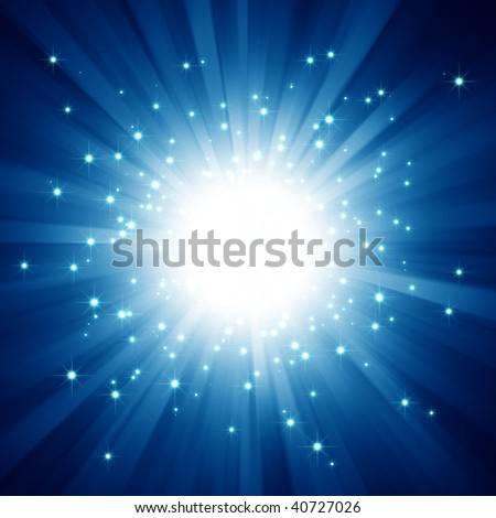 Blue light burst with stars - stock photo
