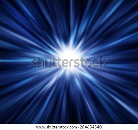 Blue light explosion effects background - stock photo