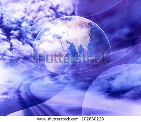 blue light planet - stock photo