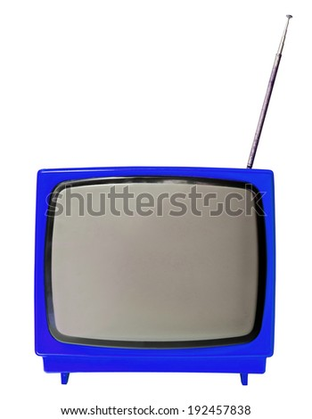 Blue light vintage analog television isolated over white background, clipping path. - stock photo