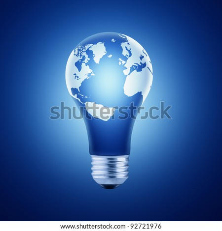 Blue Lightbulb with Globe Map Isolated on Blue Background - stock photo