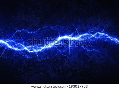 Blue lightning - abstract electrical background  - stock photo