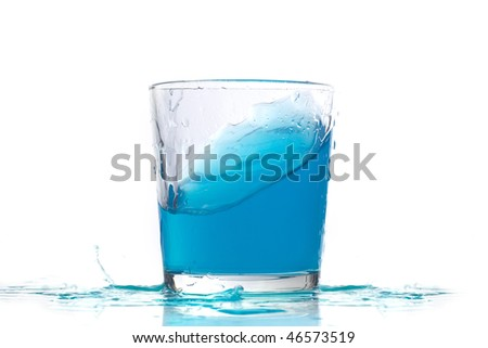 Blue liquid in a low glass