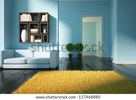 blue living room - stock photo