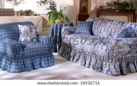Blue living room - stock photo