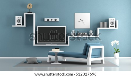 Blue living room with home cinema system- 3d rendering