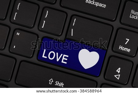 Blue love and heart button on the keyboard, valentine concept
