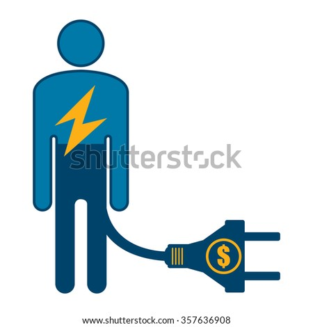 Blue Low Battery Businessman With Dollar Currency Cash Power Cable Infographics Flat Icon, Sign Isolated on White Background - stock photo