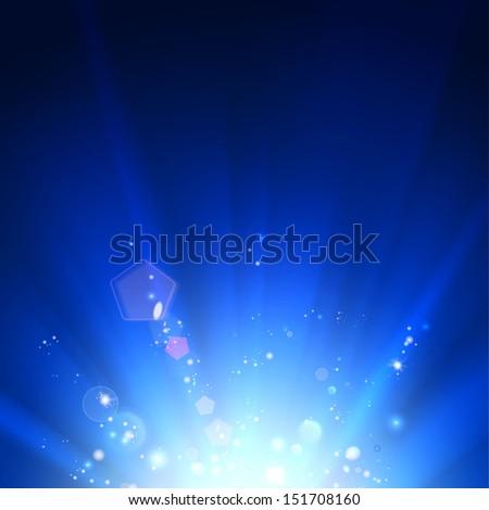 Blue luminous rays. illustration. - stock photo